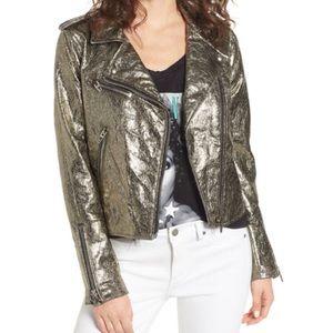 Blank NYC Metallic Vegan Leather Moto Jacket